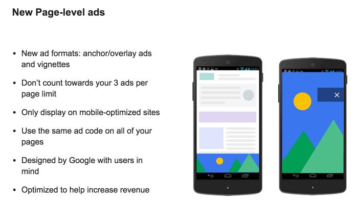 New Page Level Ads by Google Adsense